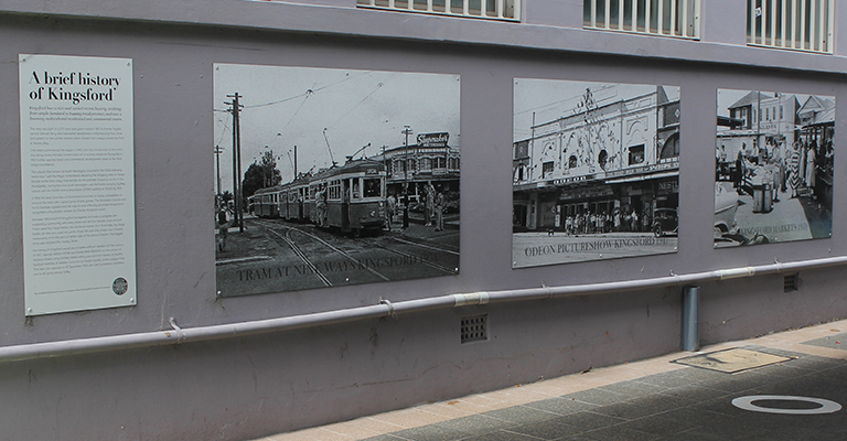 Historical images of the Kingsford town centre in Southern Cross Close