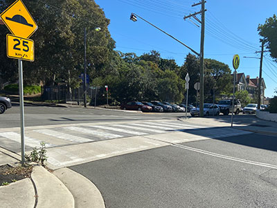 Wombat crossings are raised pedestrian crossings that substantially reduce the potential for serious pedestrian injuries.