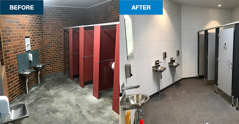 Female bathrooms were upgraded and brightened