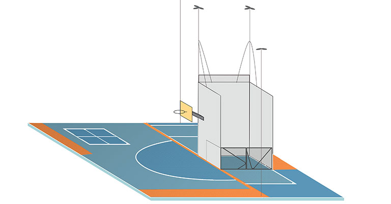 3D render of handball courts and basketball court