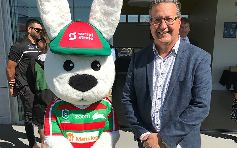 Randwick Mayor Danny Said and Reggie the Rabbit at the first birthday celebrations for the Heffron Park Tennis Centre.