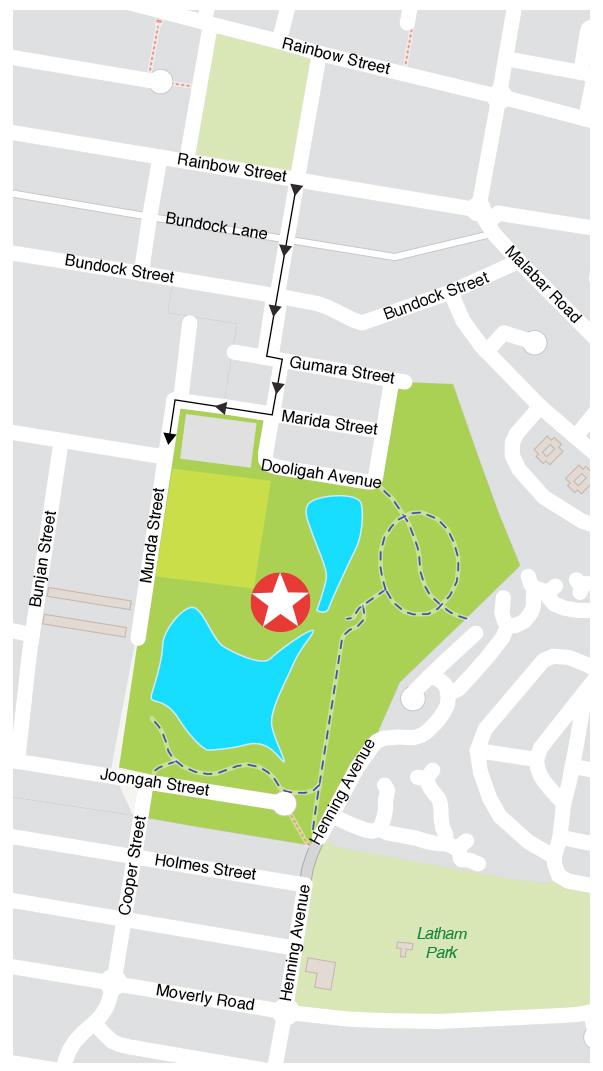 Location map of NOX event - Randwick Environment Park. Entry via Munda Street, Randwick.
