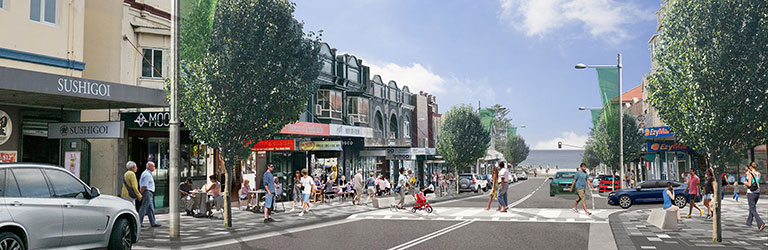 Artist impression of Coogee Bay Road streetscape upgrade