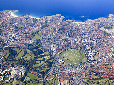 Sydney's Eastern Beaches from the air.