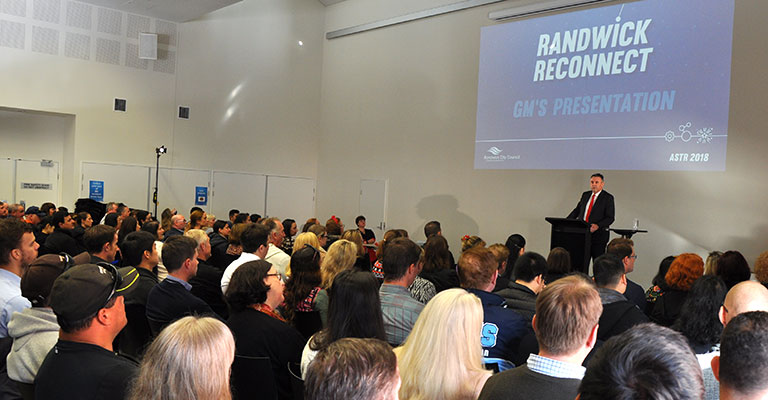 Randwick Council General Manager Ray Brownlee PSM speaking at a Randwick Council function.