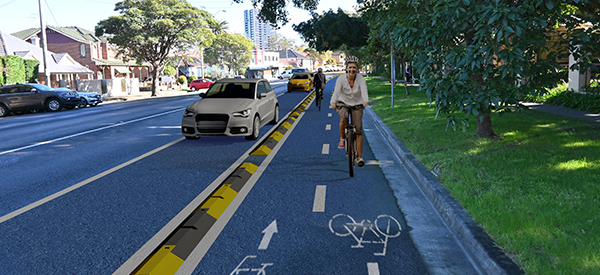Todman Ave pop-up cycleway