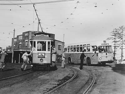 Clovelly tram service, 1957.
