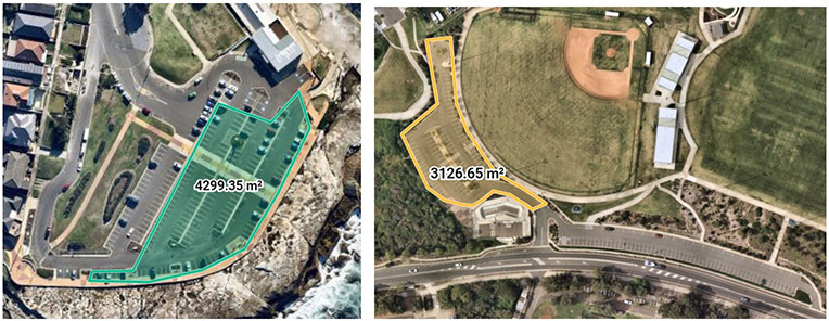 Locations for Pop-Ups: Clovelly Beach car park (left) and Chifley Sports Reserve car park.