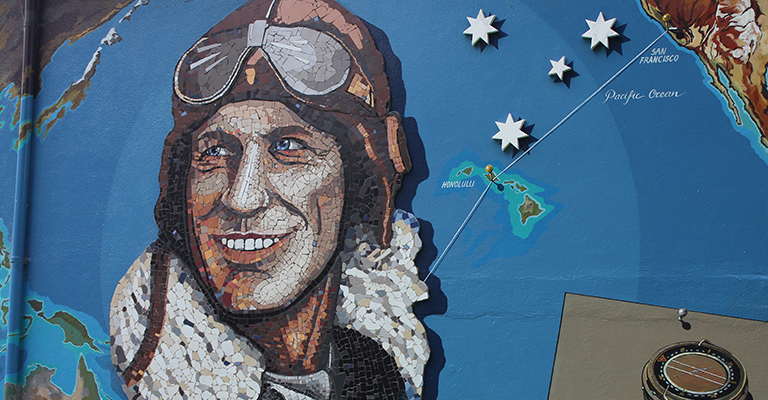 Sir Charles Kingsford Smith mural created in 2010.