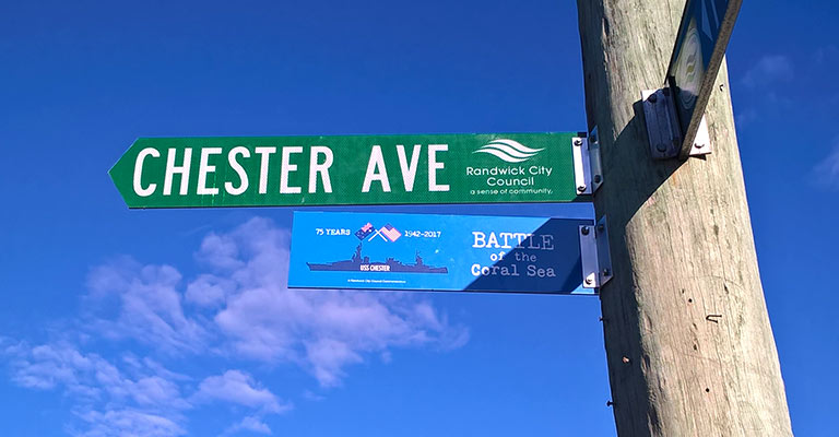 75th commemorative street signs in Maroubra