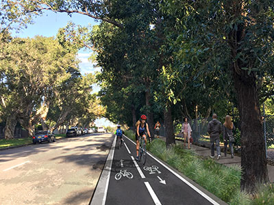 Artist impression of South Coogee to Kingsford walking and cycling improvements