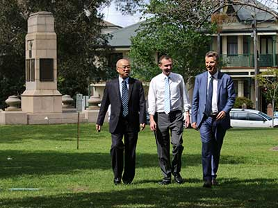 Randwick Mayor Ted Seng, Member for Coogee Bruce Notley-Smith and NSW Transport Minister Andrew Constance announcing the light rail route change at High Cross Park.