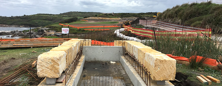 Construction on the Coastal Walkway extension.