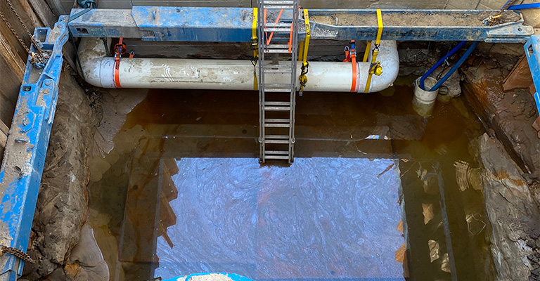 This underground well holds submerged pumps that pump stormwater across Maroubra into a storage tank.