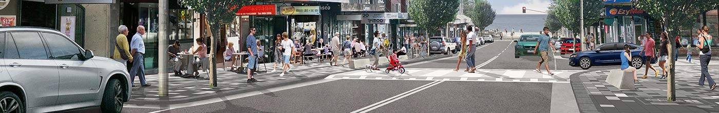 Coogee Bay Road streetscape upgrade artist impression.