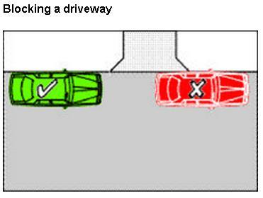Image regarding parking across a driveway
