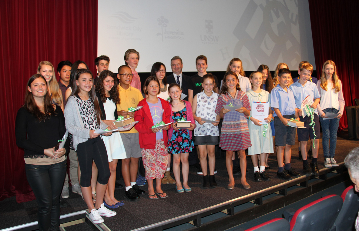 Lionel Bowen Young Writers' Award 2014 winners with Cr Tony Bowen