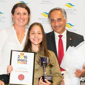 Junior-Female-Sports-Awards-Winner,-Alexandra-Spaska-with-Randwick-Mayor,-Cr-Noel-DSouza-and-Sports-Awards-Judge-Marianne-McCormick-red.jpg
