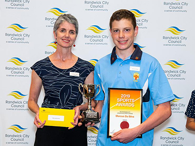 Deputy Mayor Cr Philipa Vietch with winner 2019 Junior Althlete, Marcus Da Silva.