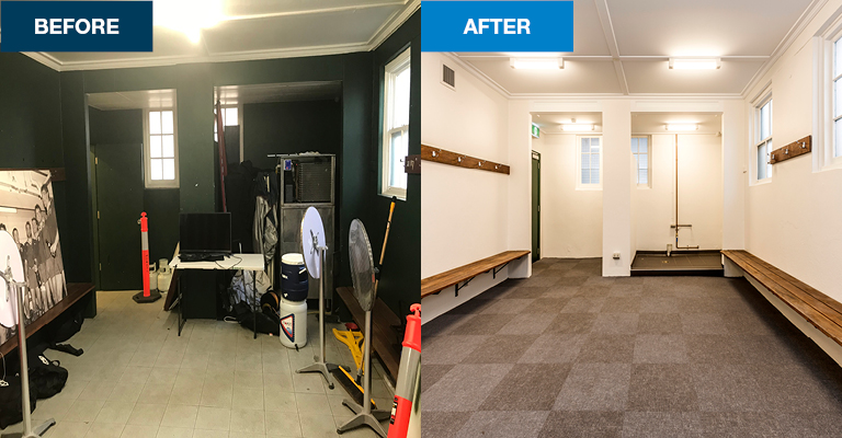Change rooms were upgraded for both home and visitor teams.
